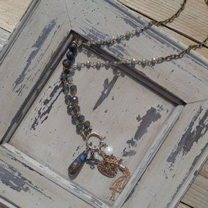 MBellish Blue-Brown Stone Tassel Necklace